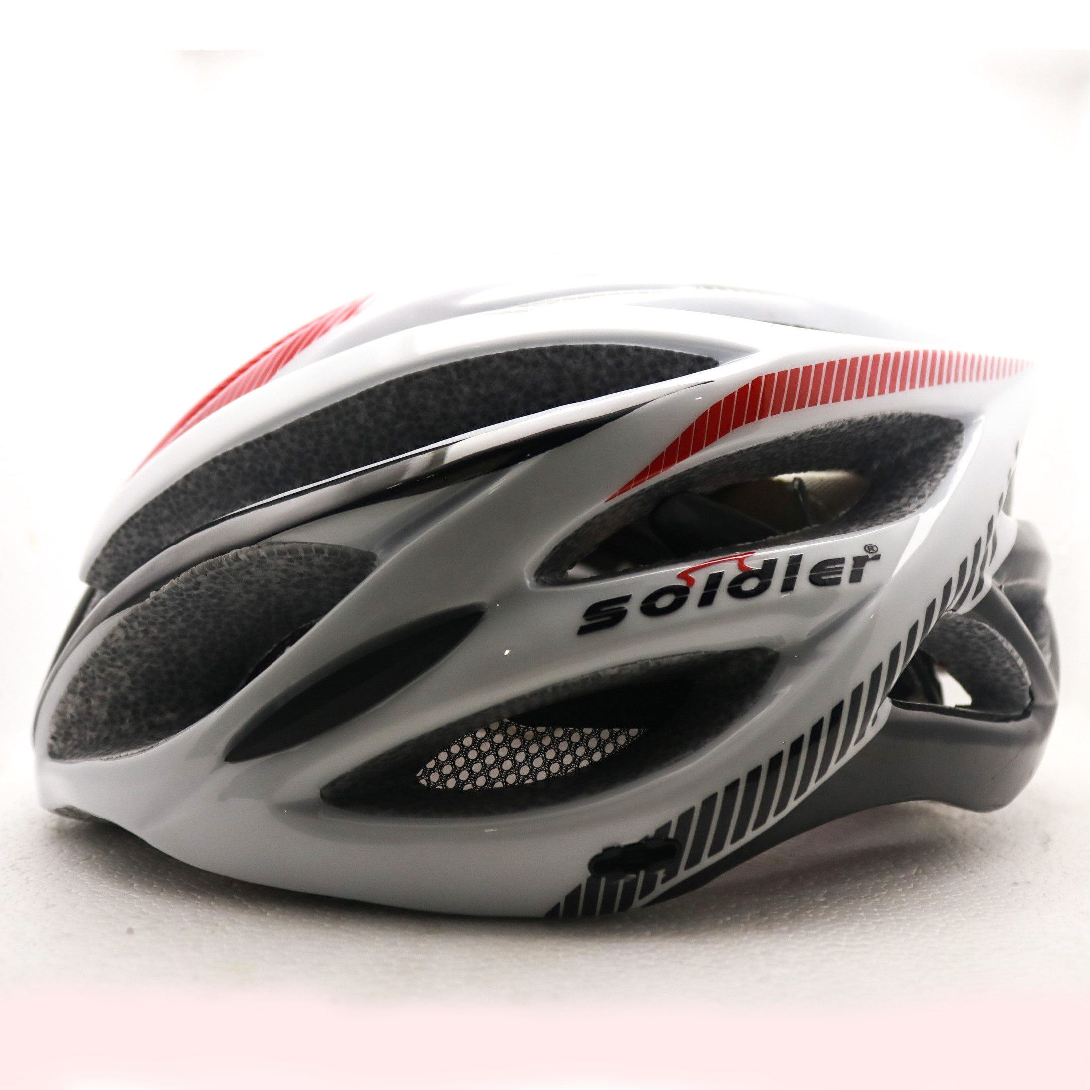 Cycling Helmet - White (Soldier) with LED Light