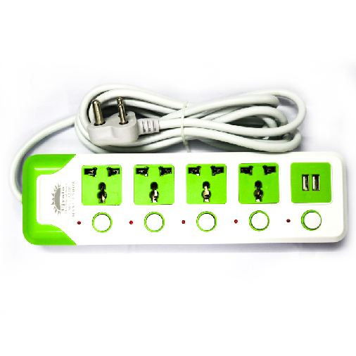 Multi-plug with 2 USB and 4 sockets