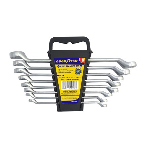 GoodYear GY10596 8Pcs Rack Pack Ring Spanners Set