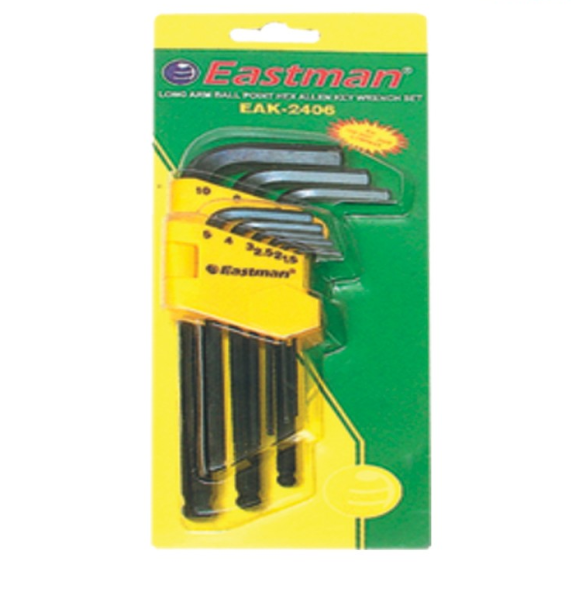 Eastman 9 Pcs. Ball Point Allen Keys Set - Long Pattern (Inch size)  EAK-2406