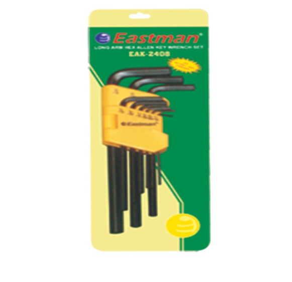 Eastman 9 PCS. Hex Allen Key Set - Long Pattern (Inch size)  EAK-2408