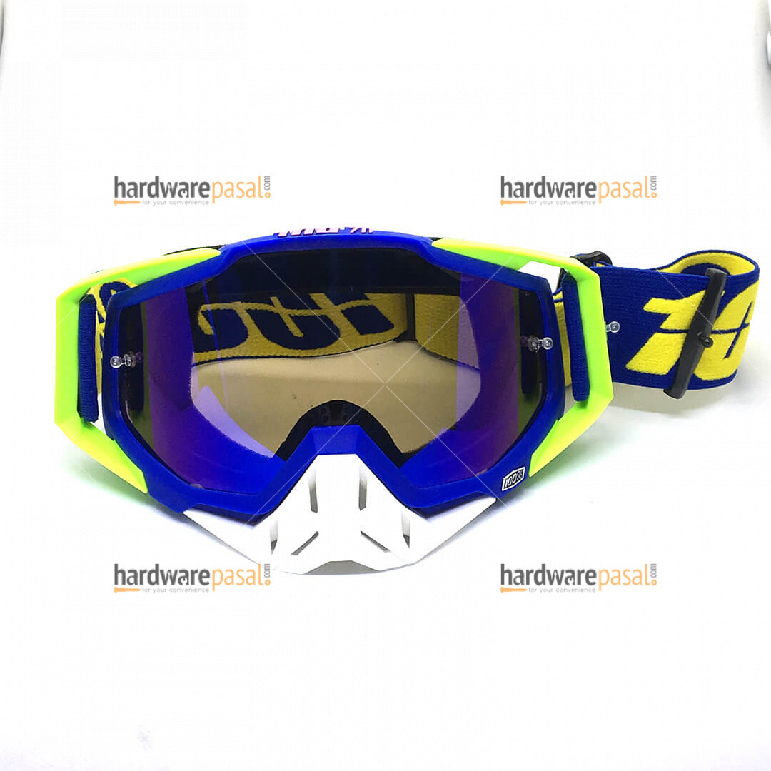 100% Blue White and Neon Mix MX Goggles